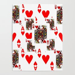 RED QUEEN OF HEARTS  & ACES PLAYING CARDS ARTWORK Poster
