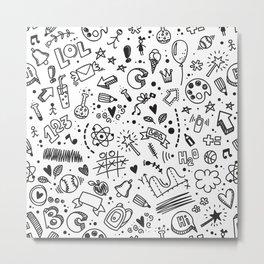 Doodle childish seamless pattern Metal Print