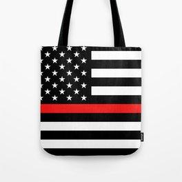 Firefighter: Black Flag & Red Line Tote Bag