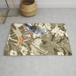 Bird Junco with Lillies Rug