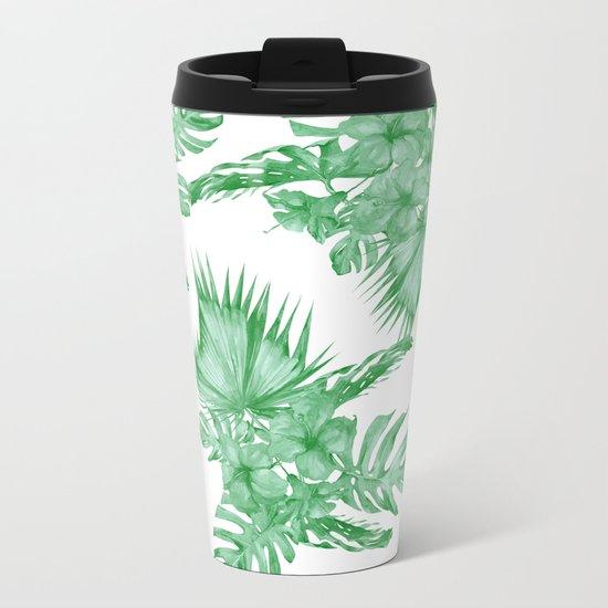 Palm Leaves and Hibiscus Tropical Green Metal Travel Mug