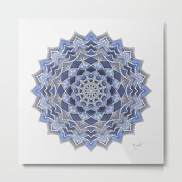 12-Fold Mandala Flower in Blue Metal Print