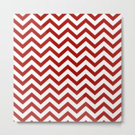 Simple Chevron Pattern - Red & White - Mix & Match with Simplicity of life Metal Print