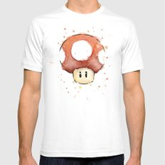 Red Mushroom Watercolor Mario Art Nintendo Geek Gaming Mens Fitted Tee MEDIUM White
