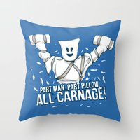 carnage Throw Pillows featuring All Carnage! by Locust Years