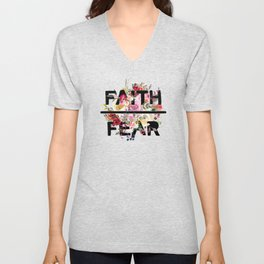 Christian Quote - Faith Over Fear - Cute Floral Watercolor Typography Unisex V-Neck