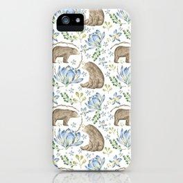 Bears in Blue Flowers iPhone Case
