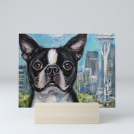 Boston Terrier in Seattle Mini Art Print