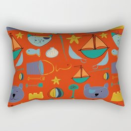 cat and bear pirate red Rectangular Pillow