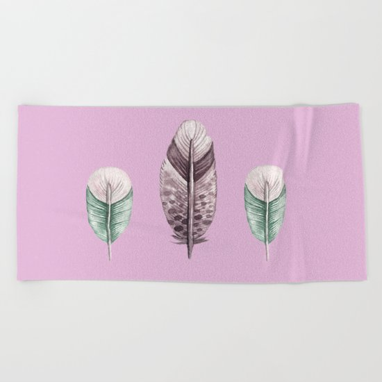 watercolor feathers (pastel pink dos) Beach Towel