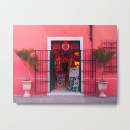 Flamingo Pink Mexico Storefront Metal Print