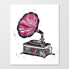 Linocut Gramophone Canvas Print