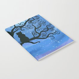 Meowing at the moon - moonlight cat painting Notebook