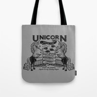 boxing Tote Bags featuring Unicorn Boxing by Kellabell9