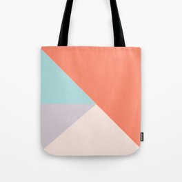 Geometric orange teal lavender color block pattern Tote Bag