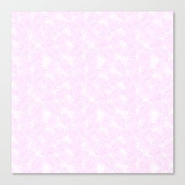 Pale Pastel Pink Monstera and Palm Leaves Canvas Print