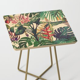 Vintage Tropical Flora (green) Side Table