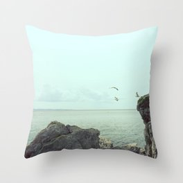 Flying on the rocks Throw Pillow