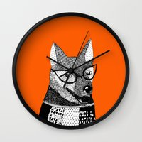 mr fox Wall Clocks featuring Mr. Fox by yellow pony