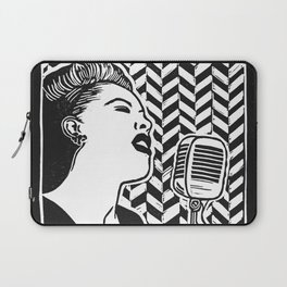 Lady Day (Billie Holiday block print blk) Laptop Sleeve