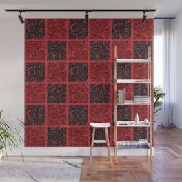 Patchwork . Roses are red. Wall Mural