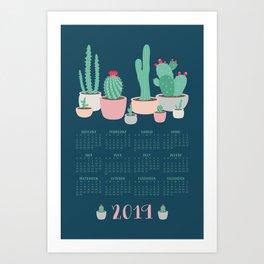 2019 Desert Dreams Cactus Calendar Art Print