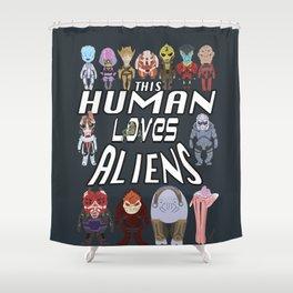 Aliens LOVE Shower Curtain