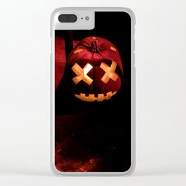 Photograph of a Scary, Carved Pumpkin Lit from the Inside at Halloween Clear iPhone Case