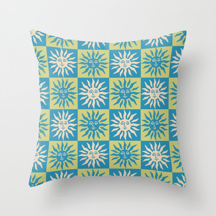 Mid Century Modern Sun Pattern Turquoise and Chartreuse Throw Pillow