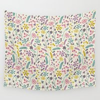 candy Wall Tapestries featuring Retro Blooms (Candy) by Anna Deegan