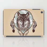 gray iPad Cases featuring Gray Wolf by Rachel Caldwell