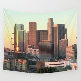 Los Angeles skyline at dawn Wall Tapestry