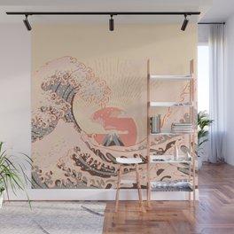 The pink great wave off kanagawa Wall Mural