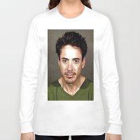 robert downey jr Long Sleeve T-shirts featuring Robert Downey Jr. Mugshot by Neon Monsters