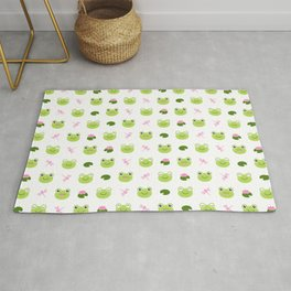 Frogs, Dragonflies and Lilypads on White Rug