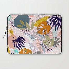 Tropical Retro Boho Foliage Pattern - Pink Laptop Sleeve