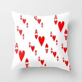 LOTS OF DECORATIVE  RED  ACES & HEARTS PLAYING CARDS CASINO ART Throw Pillow