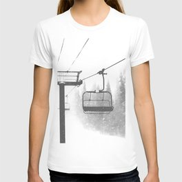Chairlift Abyss // Black and White Chair Lift Ride to the Top Colorado Mountain Artwork T-shirt