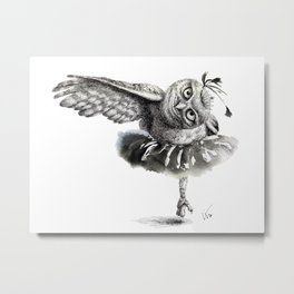 Owl Lake - Black Owl Metal Print