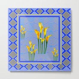 Shades of Blue Yellow Calla Lily Art Metal Print
