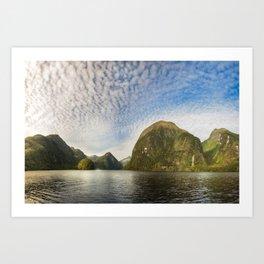 Sunglow over interesting Mountain Range at Doubtful Sound Art Print