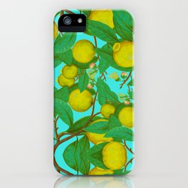 Citron lemon aqua yellow summer fruit french vintage iPhone Case