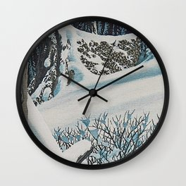 WINTER'S LAST FIREWOOD VINTAGE OIL PAINTING Wall Clock