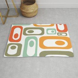 Mid-Century Modern Retro Utopia: Cheerful Minimalist Pattern in Celadon, Olive, Orange, & White Rug