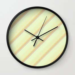 Spring Green Inclined Stripes Wall Clock