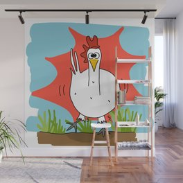 Eglantine la poule (the hen) when she just has coffee Wall Mural