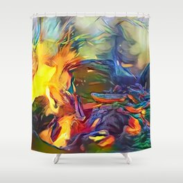 Groovy Fire Shower Curtain