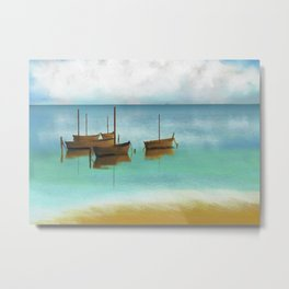 Seascape Boats Painting Impressionism Blue Ocean Artwork Metal Print