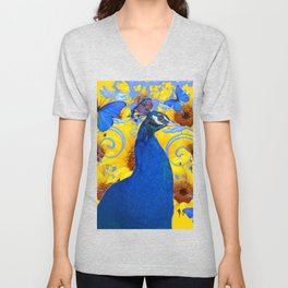 BLUE PEACOCK & BUTTERFLIES ABSTRACT Unisex V-Neck