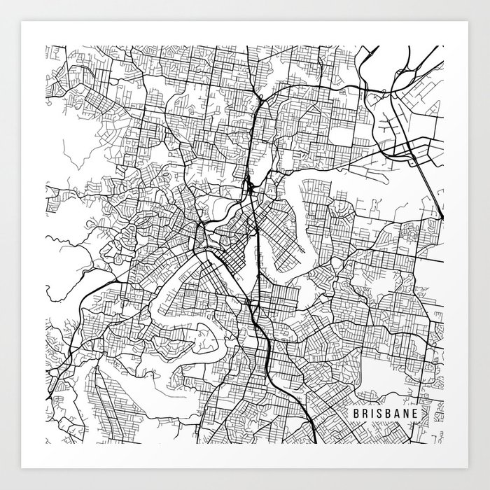 Brisbane Map Australia.Brisbane Map Australia Black And White Art Print By